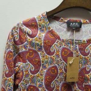 A.P.C Red Paisley Long Sleeve Top